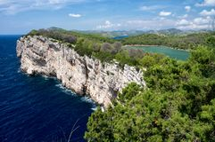 Cliffs in national park Telascica, Adriatic sea, Croatia stock photography