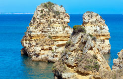 Cliffs near beach (Algarve, Portugal). Stock Photos