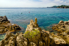 Cliffs near the beach of Sa Caleta. In Lloret de Mar Stock Photos