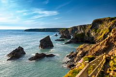 Cliffs near Bedruthan Steps in Corwal, United Kingdom royalty free stock photography