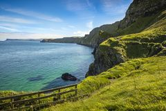Cliffs near Carrick-a-Rede rope bridge, Co. Antrim. Northern Ireland stock photo