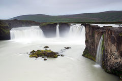 Cliffs near Godafoss (waterfall of the gods), Iceland Royalty Free Stock Images