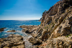 Cliffs near Lloret de Mar. Rocks on the coast of Lloret de Mar Royalty Free Stock Photo