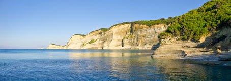 Cliffs near Perloulades village on Corfu island, Geece Royalty Free Stock Photo