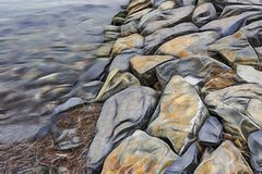 Cliffs near sea and beach waves royalty free illustration