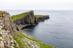 Cliffs next to neist point lighthouse royalty free stock photo