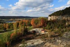 Cliffs of Niagara Escarpment in Autumn stock photography