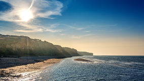 Cliffs of Normandy. Landscape photo: sunset nearby Omaha Beach in Normandy France with view to the cliffs stock image
