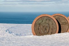 Cliffs of the North Cape: the large round statues royalty free stock photo