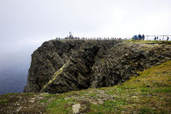 Cliffs of North Cape. Mid summer sea mist at Nordkapp royalty free stock photography