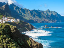 Cliffs Spain. Panoramic route that runs along the cliffs of the north coast of Tenerife, Benijo Beach, Canary Islands Royalty Free Stock Image