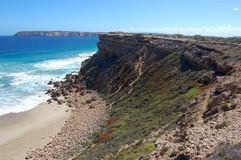 Cliffs and ocean. Nearby town, South Australia Stock Photos