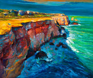 Cliffs and ocean. Original abstract oil painting of cliffs and ocean on canvas.Modern Impressionism Stock Images
