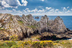 Cliffs and ocean on the coast of Brittany Bretagne, France Royalty Free Stock Photography