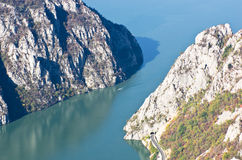 Cliffs over Danube river at the place where Djerdap gorge is narrowest Royalty Free Stock Photos