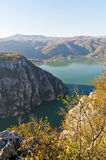 Cliffs over Danube river at the place where Djerdap gorge is narrowest Royalty Free Stock Photography