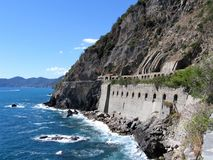 Cliffs Over the Mediterranean Sea, Cinque Terre, Italy. A walkway hugs a cliff over the Mediterranean Sea along the Cinque Terre, a region composed of five Stock Images