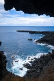 Cliffs and pacific ocean landscape vue from Ana Kakenga cave in Royalty Free Stock Photos