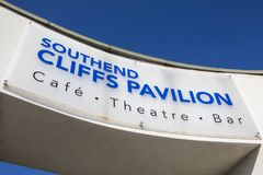 Cliffs Pavilion in Southend-on-Sea. ESSEX, UK - APRIL 5TH 2018: A sign above an entrance to the Cliffs Pavilion in Southend-on-Sea, Essex, on 5th April 2018 Royalty Free Stock Photo