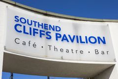 Cliffs Pavilion at Southend-on-Sea. ESSEX, UK - APRIL 5TH 2018: A sign above an entrance to the Cliffs Pavilion in Southend-on-Sea, Essex, on 5th April 2018 Stock Photos