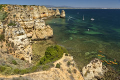 Cliffs in Ponta da Piedade near Lagos, Algarve, Portugal. Royalty Free Stock Image