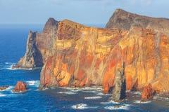 Cliffs at the Ponta de Sao Lourenco, Madeira. Portugal Stock Photos