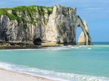 Cliffs Porte d'Aval in Etretat, France Stock Images