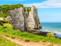 Cliffs Porte d'Aval in Etretat, France Stock Photo