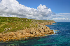 Cliffs at Porthgwarra in Cornwall Royalty Free Stock Photo