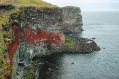 Cliffs in Raudinupur, northeast of Iceland. Royalty Free Stock Images