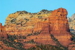Cliffs Of Red Rock In Layers In Arizona Desert Royalty Free Stock Images