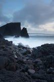 Cliffs of Reykjanes Peninsula Iceland. A stormy evening by the Reykjanes Peninsula on Iceland in January royalty free stock image