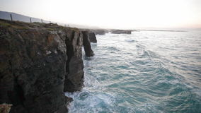 Cliffs on Ribadeo shore, Spain stock footage