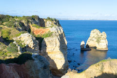 Cliffs and rock formations at Ponta da Piedade (Lagos, Portugal) Stock Photography