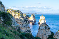 Cliffs and rock formations at Ponta da Piedade (Lagos, Portugal) Royalty Free Stock Images