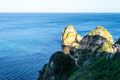 Cliffs and rock formations at Ponta da Piedade (Lagos, Portugal) Stock Images