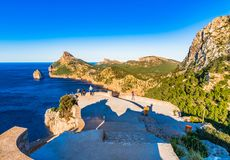 Cliffs and rocks of Cap de Formentor on Majorca island, Spain stock image