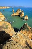 Cliffs, rocks formations and clear water viewed from Ponta da Piedade in Lagos, Algarve royalty free stock images
