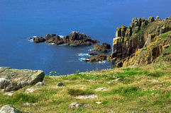 Cliffs and Rocks at Landsend. Looking from Cliffs  at Rocks at Landsend in Cornwall UK Royalty Free Stock Photos