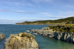 Cliffs and rocks at Woolacombe bay, Devon Royalty Free Stock Photo