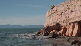 Cliffs and rocky shore Mediterranean sea in Spain. Salou. Cliffs and rocky shore mediterranean sea in Spain. Salou stock footage