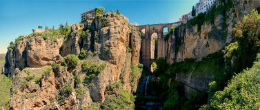The Cliffs of Ronda, Spain. Panoramic view of the cliffs and gorge in Ronda, Spain Stock Photo
