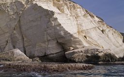 Cliffs of Rosh Hanikra. The white cliffs of Rosh Hanikra a view from the Mediterranean sea Stock Photography