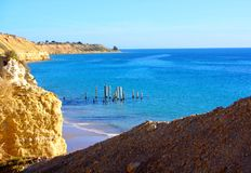Cliffs & Ruined Jetty royalty free stock photo