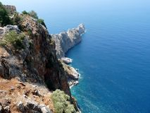 Cliffs beside the ruins of the Alanya castle. Turkey stock image