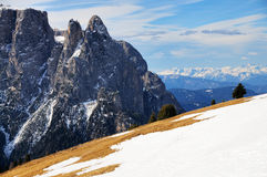 Cliffs of Schlern, Seiseralm, Val Gardena Stock Images