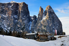 Cliffs of Schlern, Seiseralm, Val Gardena Royalty Free Stock Photography