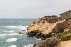 Cliffs With Sea Birds and Tide Pools in Point Loma Royalty Free Stock Images