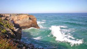 Cliffs and sea in Ribadeo, Spain stock footage