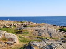Cliffs by the sea. Swedish West Coast sunshinr Royalty Free Stock Photos